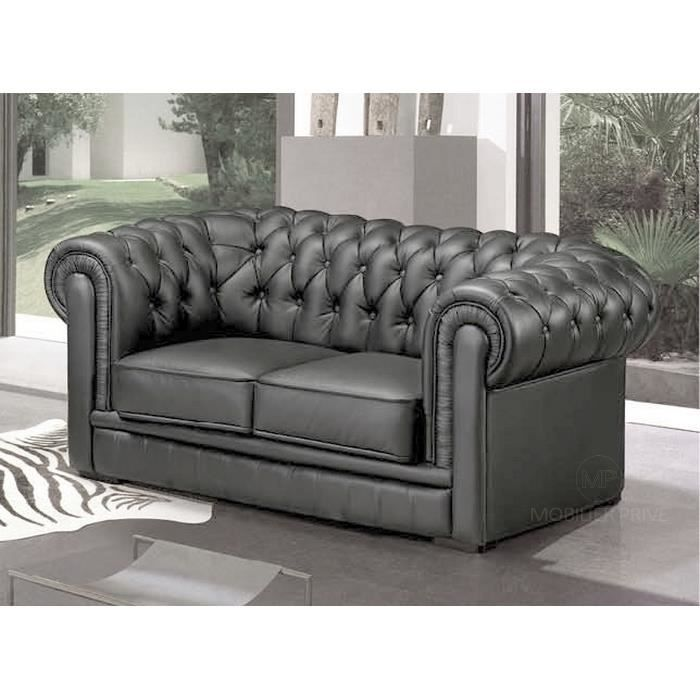 Canap 2 places en cuir italien chesterfield achat vente canap sofa - Cdiscount canape 2 places ...