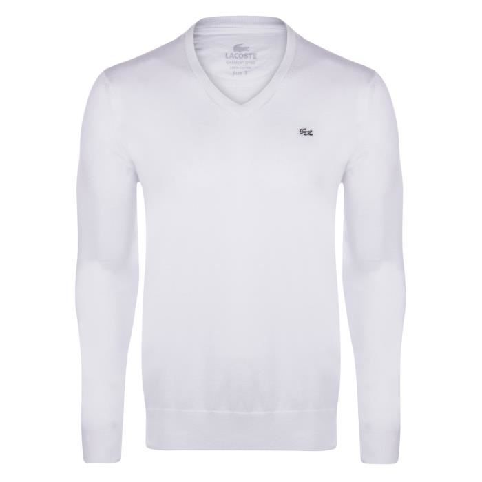 lacoste pull homme v neck blanc achat vente pull. Black Bedroom Furniture Sets. Home Design Ideas