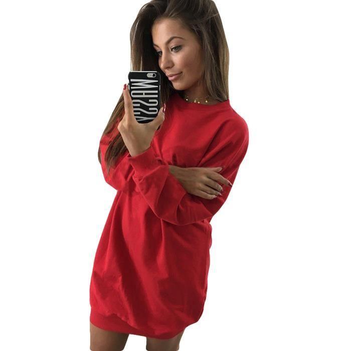 Pull Femme Col Rond Marque Luxe Pas Cher Couleur Unie Robe Pull Femmes Vetement Rouge Achat Vente Robe Bientot Le Black Friday Cdiscount