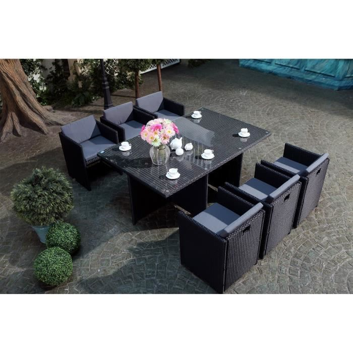 salon jardin noir encastrable r sine 6 pers achat vente salon de jardin vito salon jardin. Black Bedroom Furniture Sets. Home Design Ideas