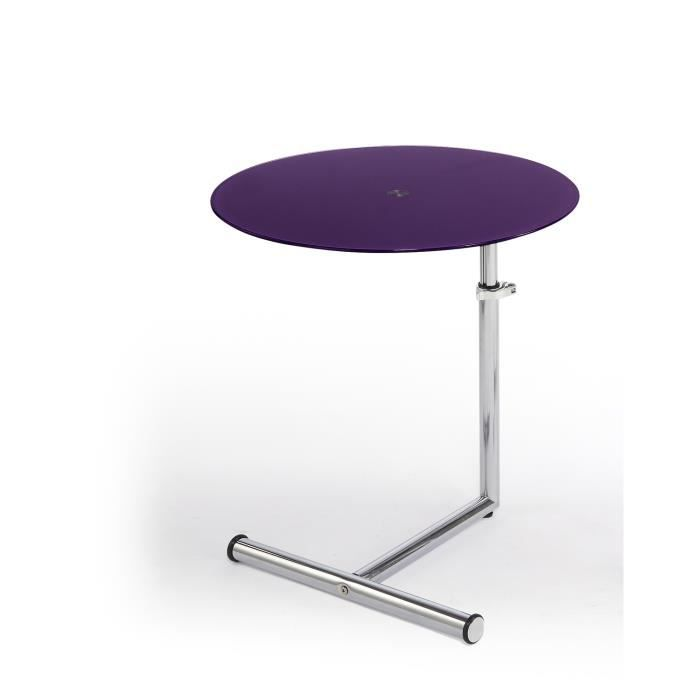 Table bar en m tal ajustable couleur violet achat for Achat table bar