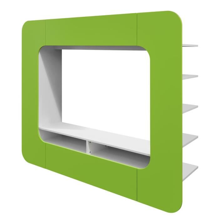 Meuble tv swithome media wall arrondi vert achat vente for Meuble tv arrondi