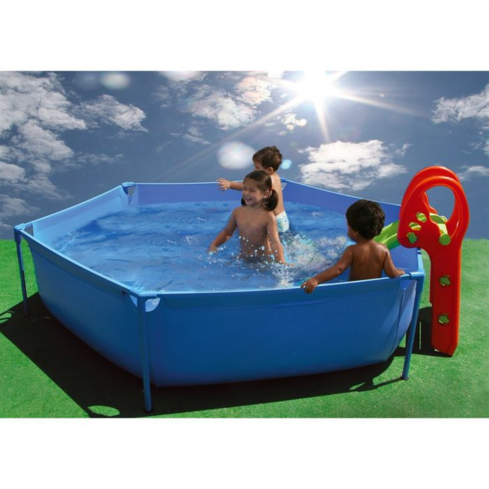 Tobogan piscine hexagonale 215x45cm achat vente piscine for Piscine gonflable pas cher