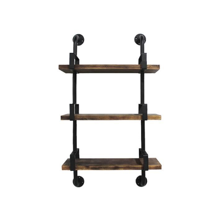 ikayaa 25 61 100cm tag res murales 3 tier en bois de pin acier biblioth que stockage. Black Bedroom Furniture Sets. Home Design Ideas