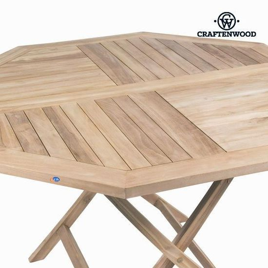 ENSEMBLE TABLE DE JARDIN OCTOGONALE EN TECK + 4 CHAISES ...