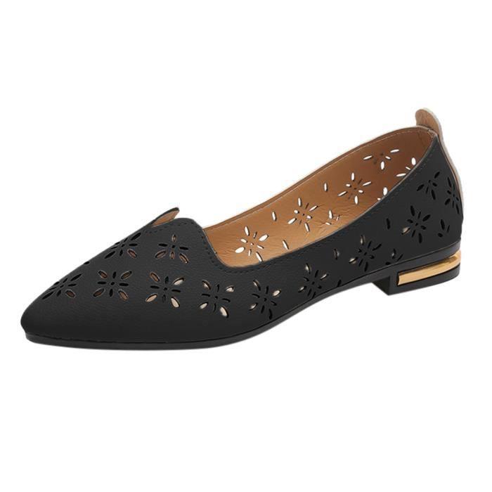 Point de Casual Mode féminine Toe Mocassins peu profondes chaussures de travail dames Chaussures plates Noir