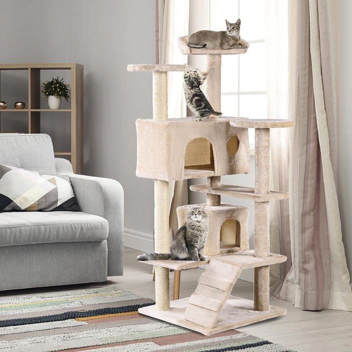 Griffoir Chat Fait Maison costway arbre à chat centre d'activité à chat niche colonne