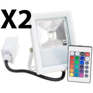 PROJECTEUR EXTÉRIEUR Lot 2 Projecteurs Spot LED extérieur Eclairage RGB