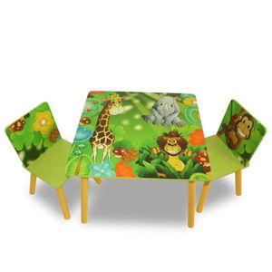 TABLE BÉBÉ Ensemble table+2 chaises vert pour enfant