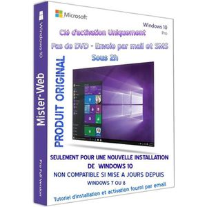 CLÉ USB Clé d'activation OEM Windows 10 Pro pas de CD seul