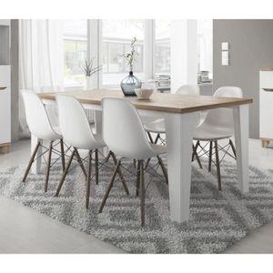 TABLE À MANGER SEULE Table à manger scandinave LIER blanc et bois