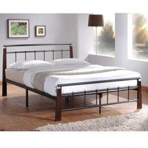 STRUCTURE DE LIT Lit Design en metal noir pieds de lit en bois m...