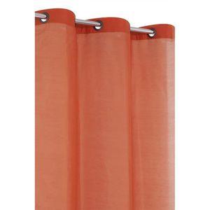 RIDEAU Voilage Uni Tissu Legerement epais Orange Fonce