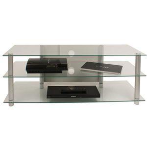 MEUBLE TV VCM 14130 Netasa Meuble TV Aluminium-Verre Argent-