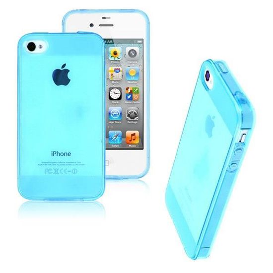 coque housse iphone 4 4s silicone bleu transparent