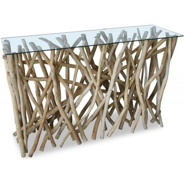 CONSOLE Console design en bois flotté teck 77 X120CM