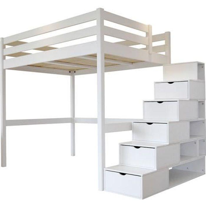 Lit Mezzanine Sylvia avec escalier cube bois - Couleur - Blanc, Dimensions - 140x200