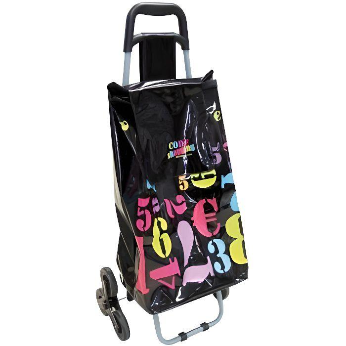 Chariots et sacs de courses - Chariot de courses chiffres - Noir - Poussette de marché