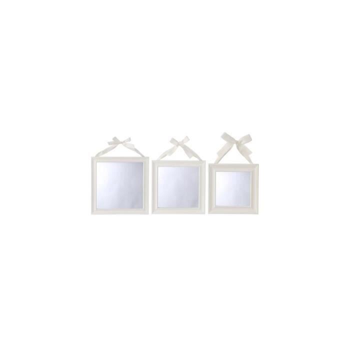 Lot de 3 miroirs carrés - Blanc
