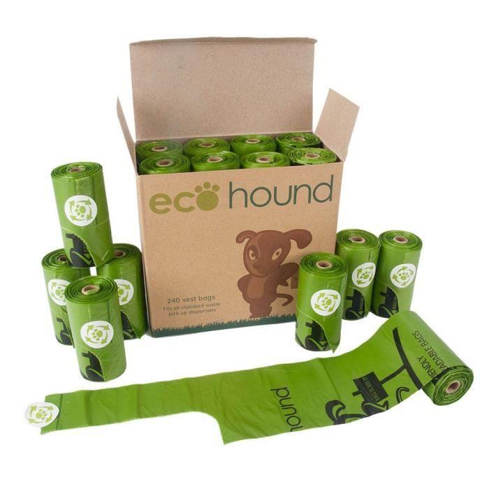 Kit Hygiene Litiere Dejections Ecohound 240 Petit Chien Poo Sacs avec poignées - Sac Biodégradable Dog Waste Rolls CNTFS