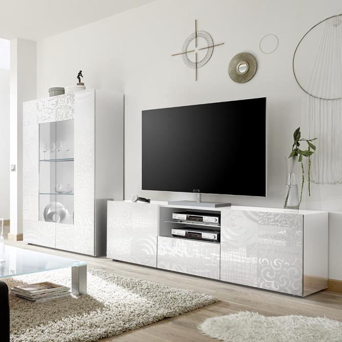 Grand ensemble TV design blanc laqué ELMA Blanc L 414 x P 42 x H 166 cm