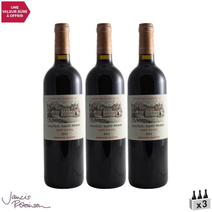Château Saint-Pierre Rouge 2011 - Lot de 3x75cl - Vin Rouge de Bordeaux - Appellation AOC Saint-Julien - 16,5-20 Jancis Robinson - C