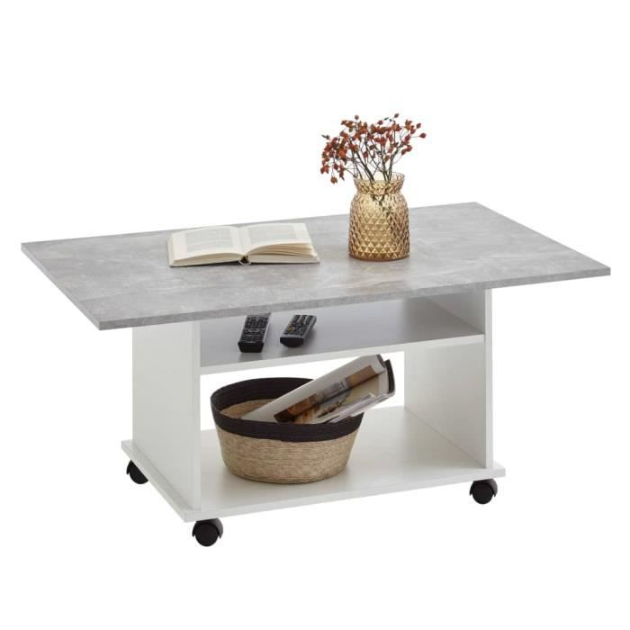 Furniture® Table basse Design - Table à café Table à thé avec roulettes Gris béton et blanc ☺82019
