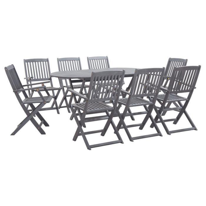 Mobilier à dîner de jardin 9 pcs - Ensemble table à manger de 8 à 10 personnes + 8 chaises Bois d'acacia massif Gris