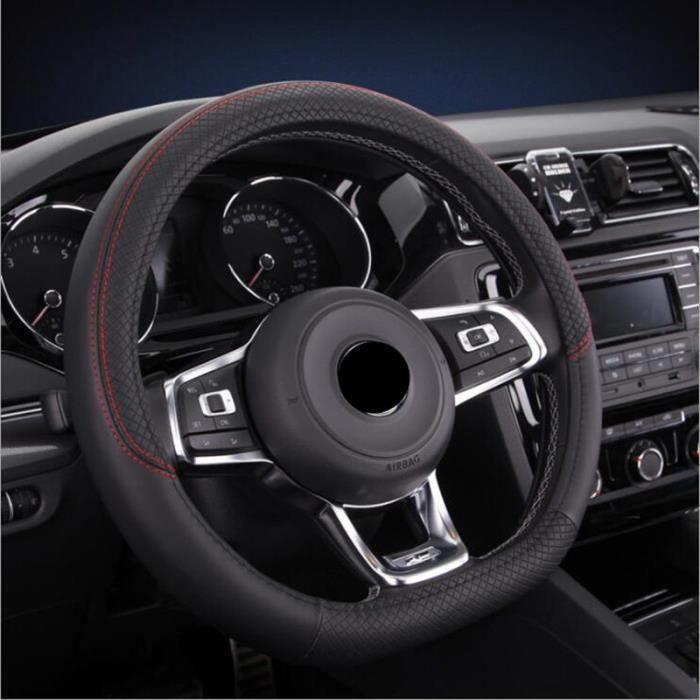 Couverture de volant de voiture en cuir PU en forme de D, couvre volant de Sport antidérapant pour VW Black