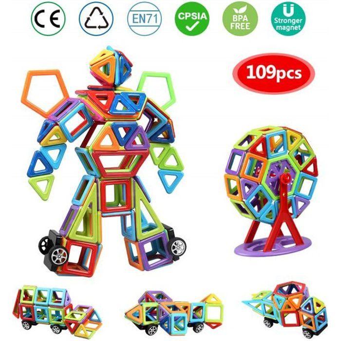 Bloc de Construction Magnétique 109 Pièces, Magique Aimant Créatif Bloc Construction Jouet pour Journée des Enfants Bambin plus de 3