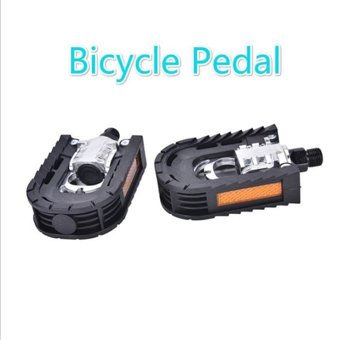 Pièce Détachée,2 pièces pédales de VTT en alliage d'aluminium en plastique pédales pliantes pédales de vélo composant de cyclisme