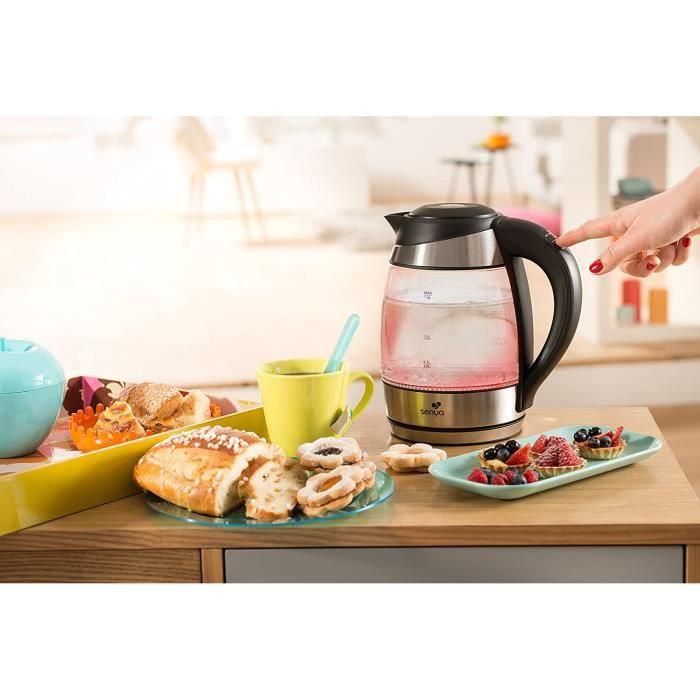 Senya SYBF-K011 bouilloire électrique température réglable Tea Colours avec filtre anticalcaire et sans fil avec corps en verre et