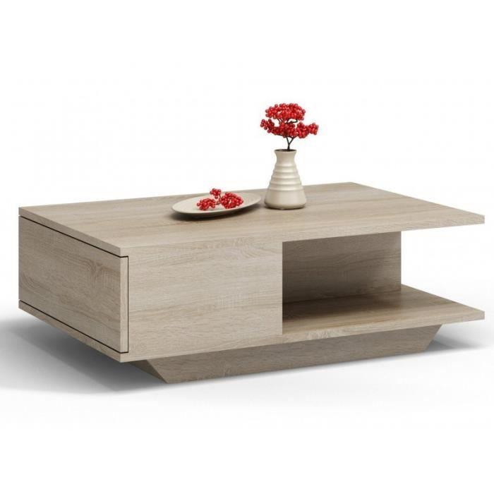 ZEKE - Table basse contemporaine - 90x60x42cm - Table à café style scandinave salon séjour bureau - Sonoma