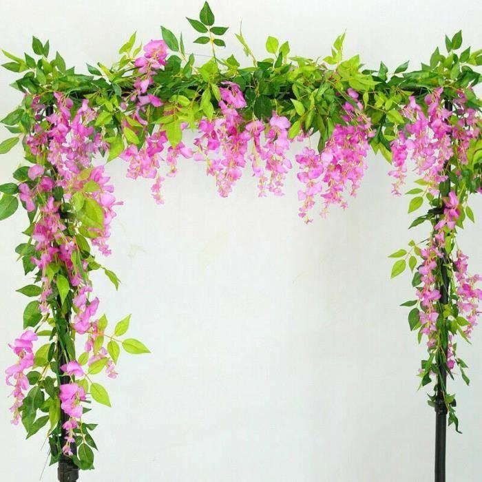 Guirlande de glycine artificielle 2x7 pieds, plantes de feuillage, fleurs traînées, décor extérieur pour maison, bureau, ES15848