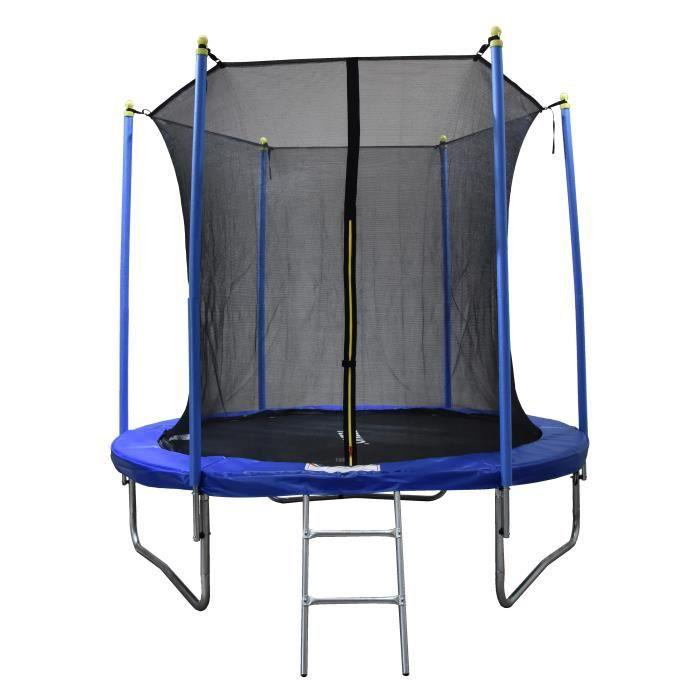 Trampoline 250 cm Bleu TEENO Échelle et filet de protection inclus-Fitness à domicile-Trampoline intérieur / extérieur