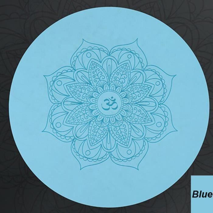 Tapis de sol,Tapis de méditation de Yoga rond, élégant coussin en PU et caoutchouc naturel écologique pour les amoureux - Type Blue