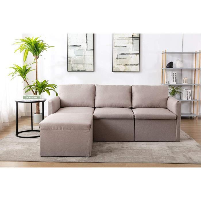 Canap 3 places avec housse imitation lin Canap dangle idal pour les petits appartements les chambres dhtes les cha72
