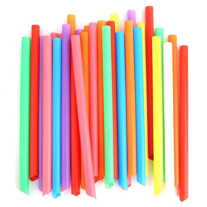 Dioche paille en plastique Pailles larges jetables en plastique colorées de paille à boire 100PCS pour des couleurs mélangées de