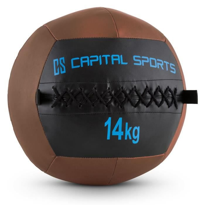 CAPITAL SPORTS Wallba - Medecine ball cuir synthétique pour exercices core & entrainement fitness, cross-training, muscu, MMA - 14kg