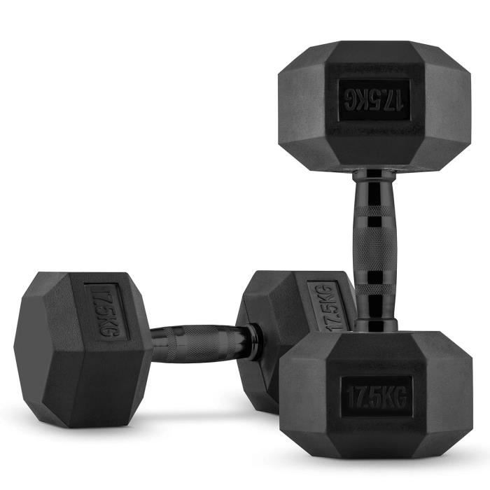 CAPITAL SPORTS Hexbell Dumbbell Paire d'haltères courts pour musculation , fitness , bodybuilding...- 2 x 17,5 kg