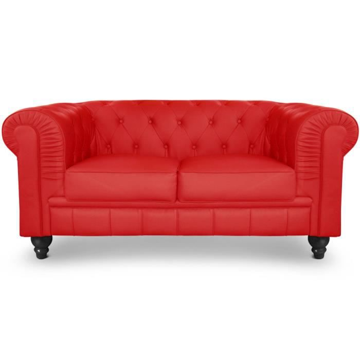 Canapé 2 places Chesterfield Rouge