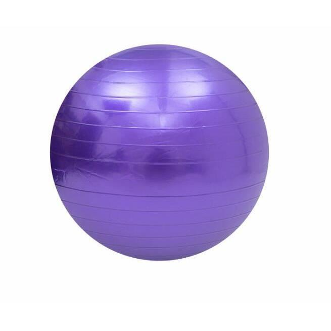 Swiss Ball Ballon de Fitness Gymnastique pour Pilates Yoga Renforcement du Dos avec Pompe Ballon - Violet Diamètre 75 cm Taille M