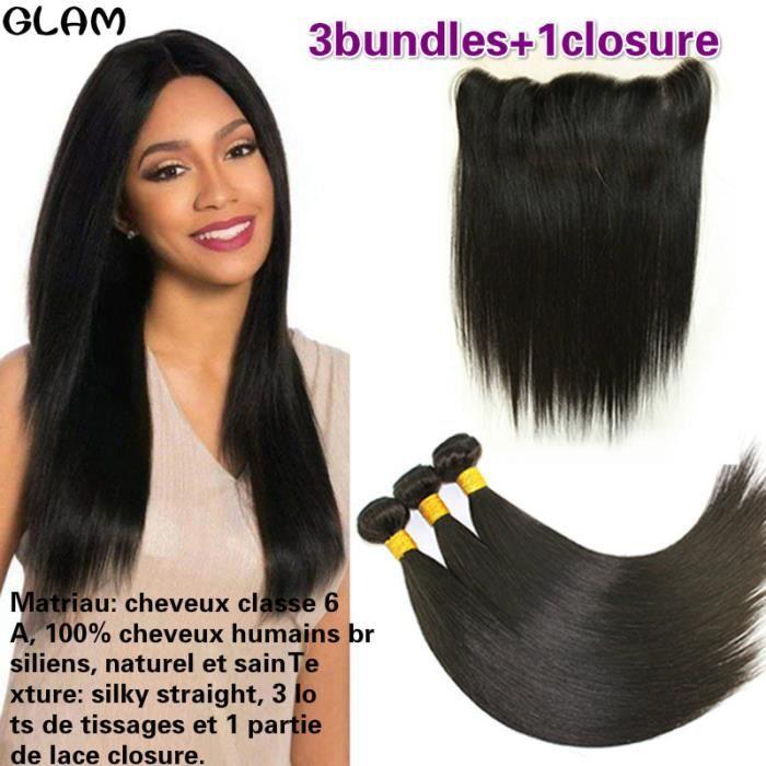 cheveux humain 100g-p brésiliens lisse straight 3 lots de tissage avec une partie 13x4 lace closure(18-20-22-+14-closure)
