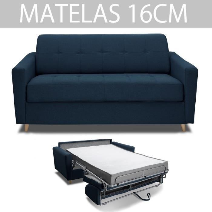 Canapé MEZZANO convertible RAPIDO matelas 16 cm sommier métal 140 cm tissu tweed bleu nuit Inside75