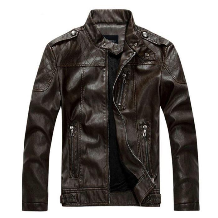 Veste Homme Veste stylé en cuir homme PU Veste de moto Veste Hommes Vêtement Masculin-noir