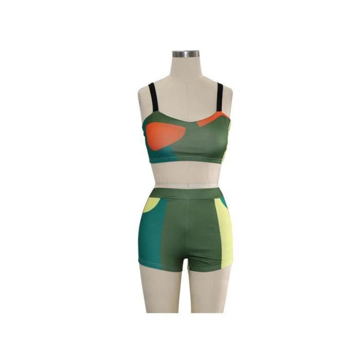 ensemble de sport Maillot de Bain Femme 2 Pièce Bikini Taille Haute Shorty Push Up Imprimer
