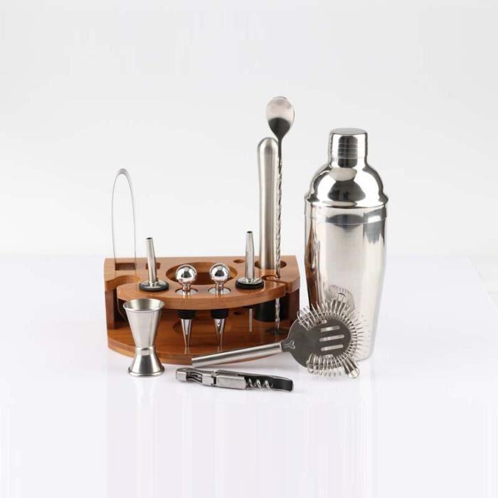 Cocktail Making Set Cocktail Shaker Kit de mélange de Cocktail en acier inoxydable avec présentoir en bambou 750 ml