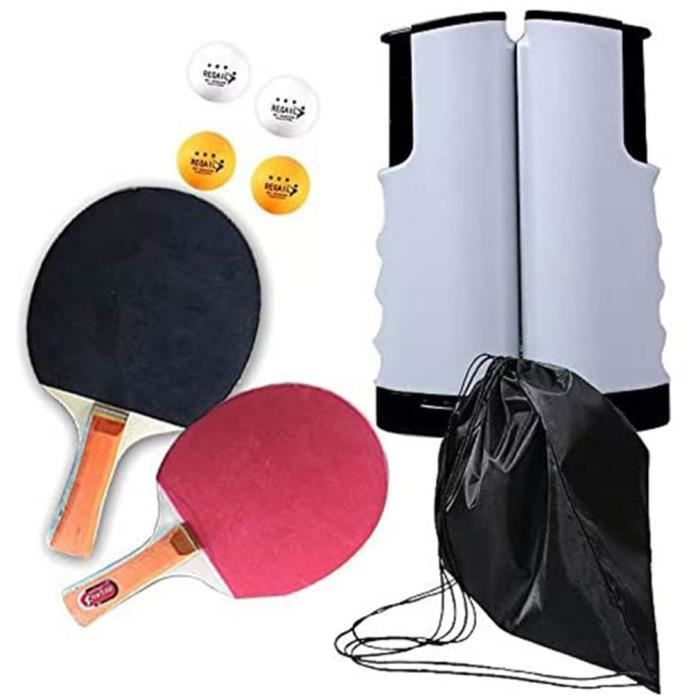 Set de tennis de table filet de ping-pong rétractable + 2 raquettes + 4 balles + sac - blanc noir