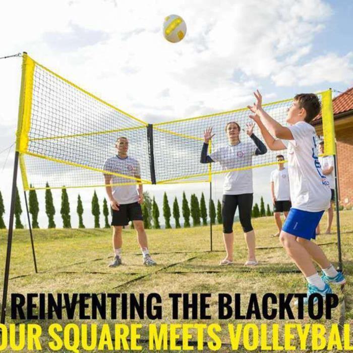 Filet de volley-ball croisé à quatre côtés bord jaune 30 * 100cm