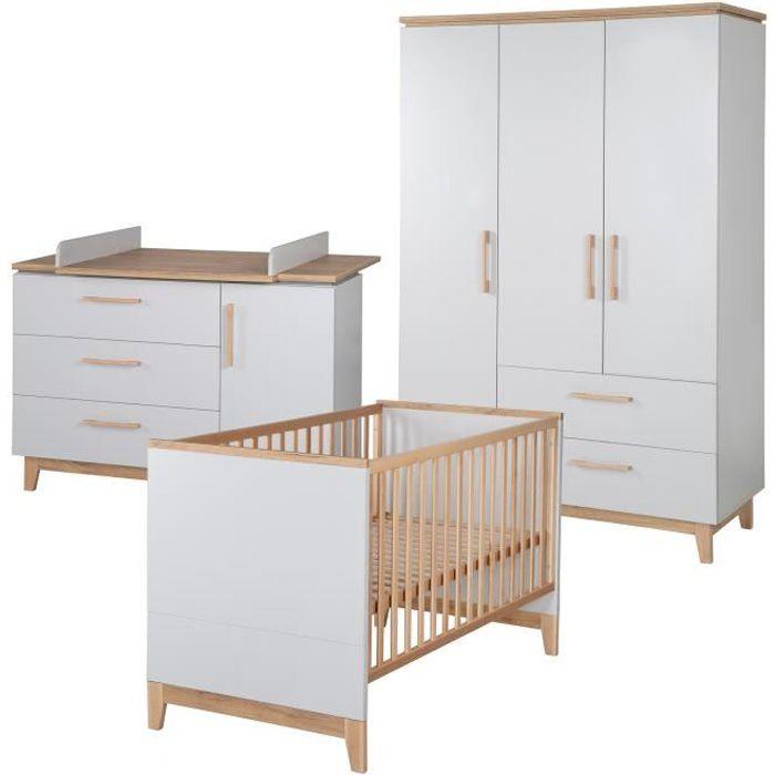 ROBA Ensemble de chambre -Caro-, incl. lit bébé (70x140 cm), commode à langer et armoire à 3 portes